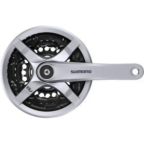 Shimano FC-TY501 Guarnitura 6/7/8 velocità 48-38-28 denti con paracatena, silver